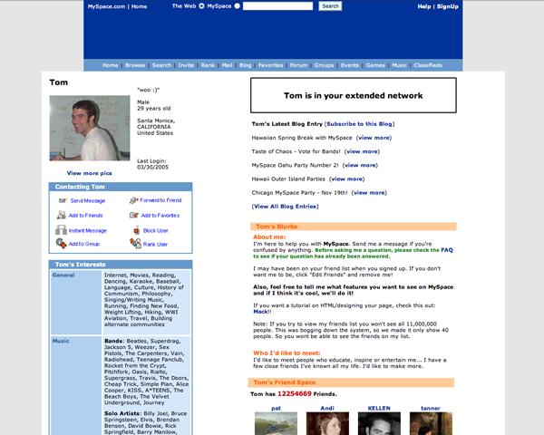 MySpace in 2005