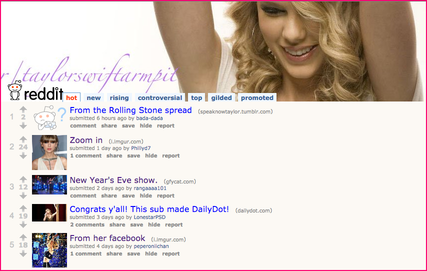 subreddit dedicated to Taylor Swift's armpits