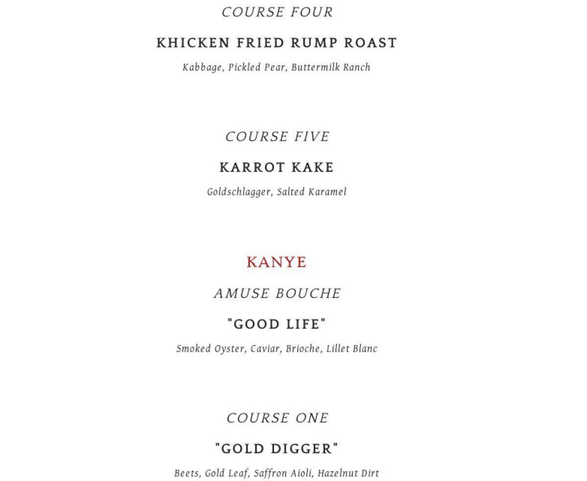 Kim/Kanye Themed Menu