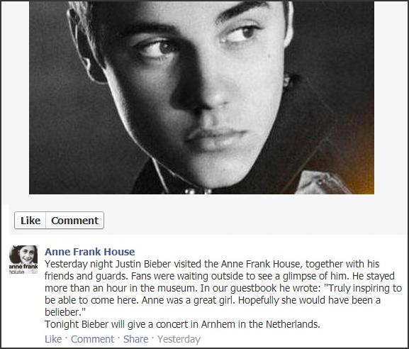 Justin Bieber//Anne Frank