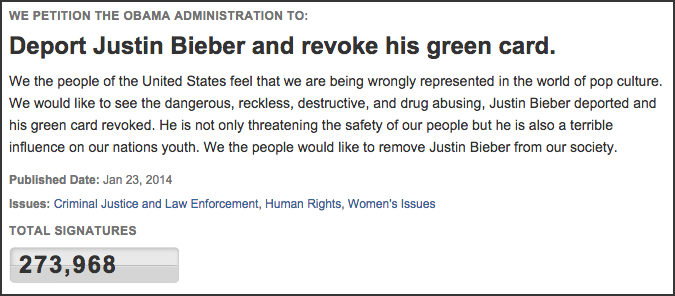 White House Petition - Deport Justin Bieber