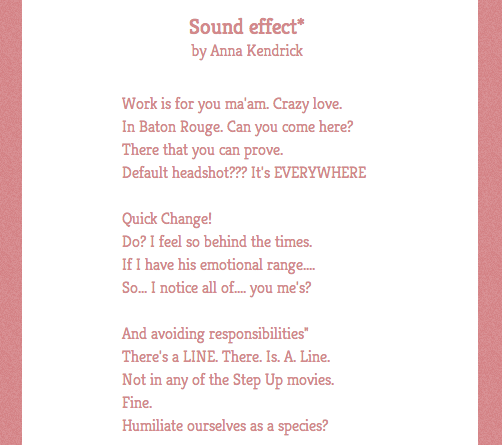 Poetry made from Anna Kendrick's Tweets