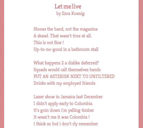 Poetry made from Ezra Koenig's Tweets