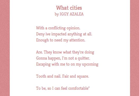 Poetry made from Iggy Azalea's Tweets