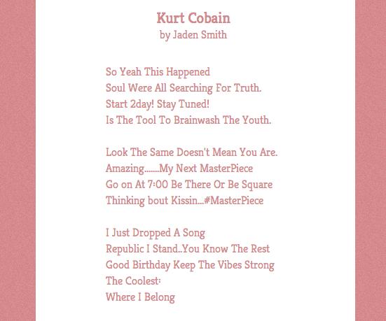 Poetry made from Jaden Smith's Tweets