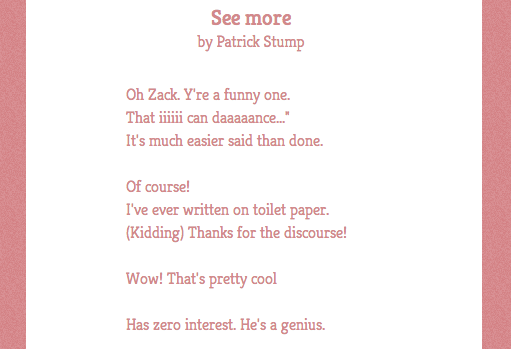 Poetry made from Patrick Stump's Tweets