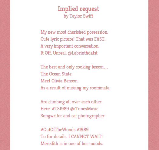 Poetry made from Taylor Swift's Tweets