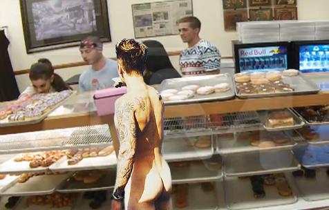 Naked Justin Bieber Pointing At Things