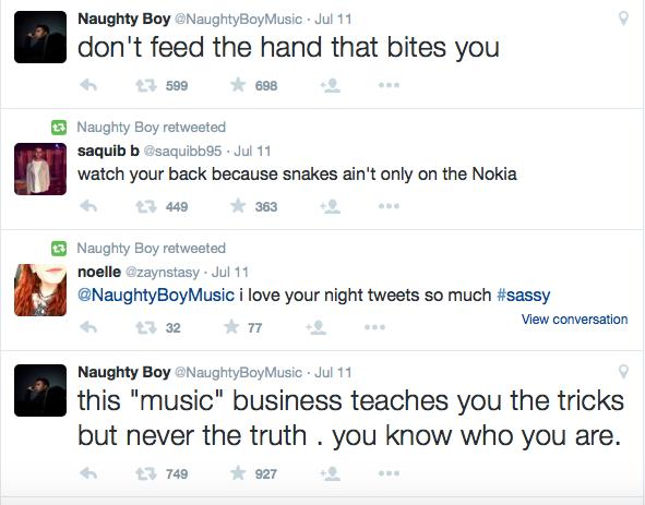 Picture of Naughty Boy Tweets