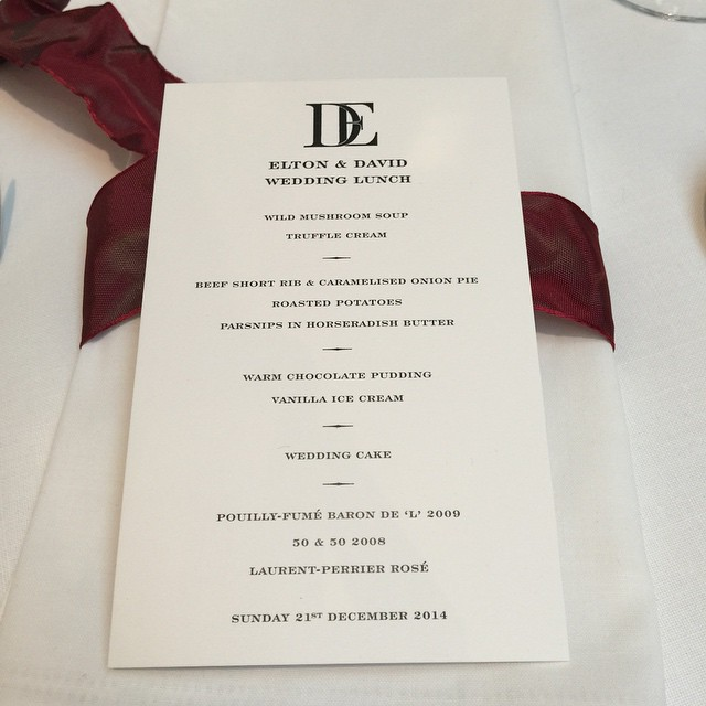 Menu at Elton John's wedding