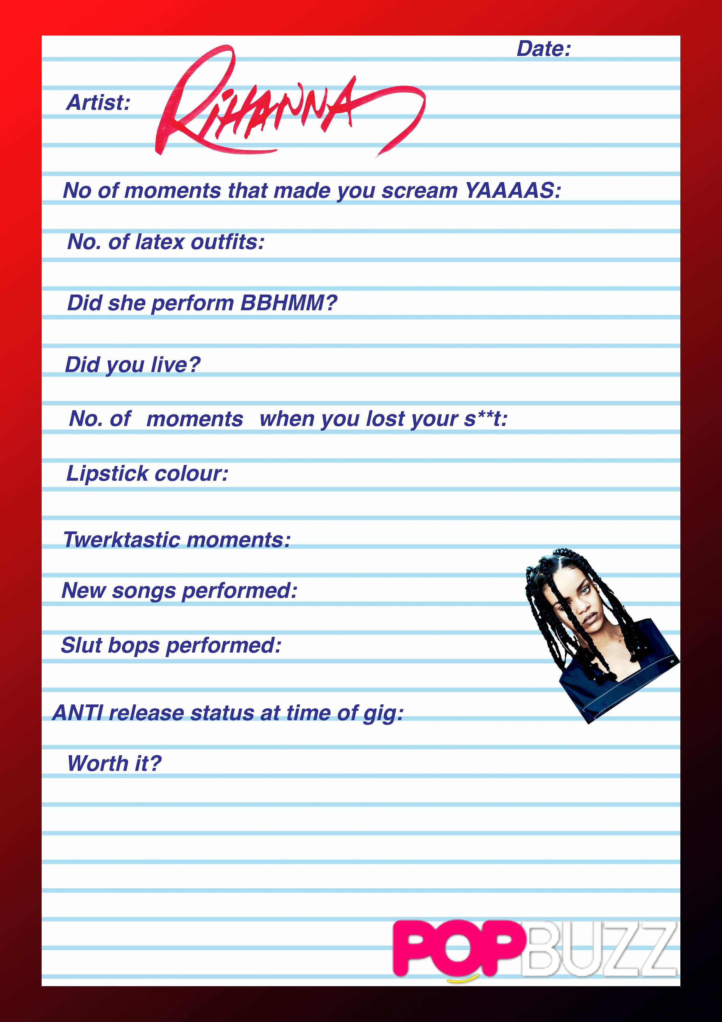 Rihanna Gig Diary