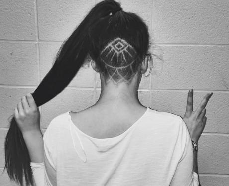 lotus undercut hidden hair tattoo