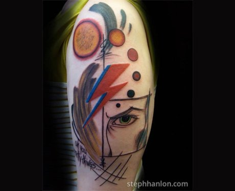 Abstract ziggy by steph hanlon these david bowie tribute for Bowie tattoo ideas