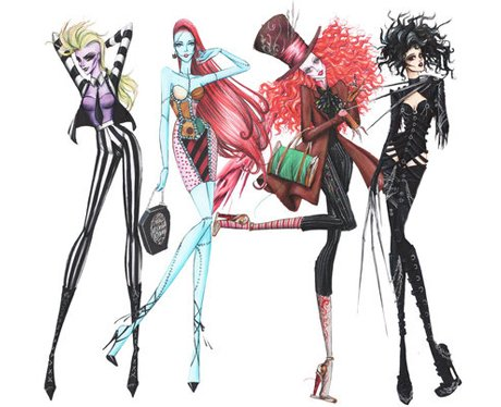 tim burton style fashion illustrations