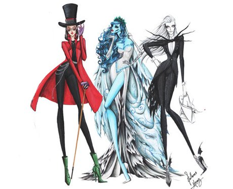 9 tim burton style fashion illustrations
