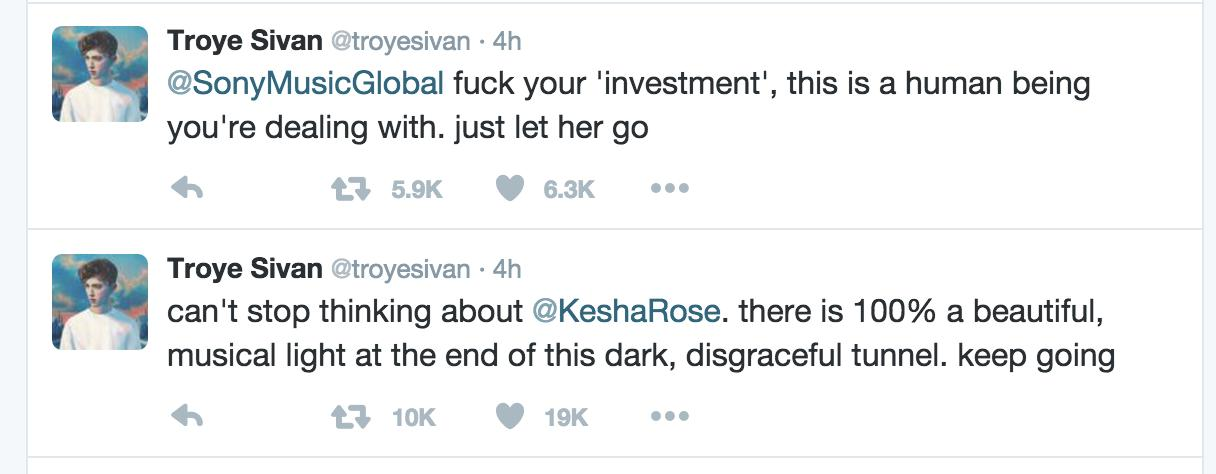 troye sivan tweets about kesha