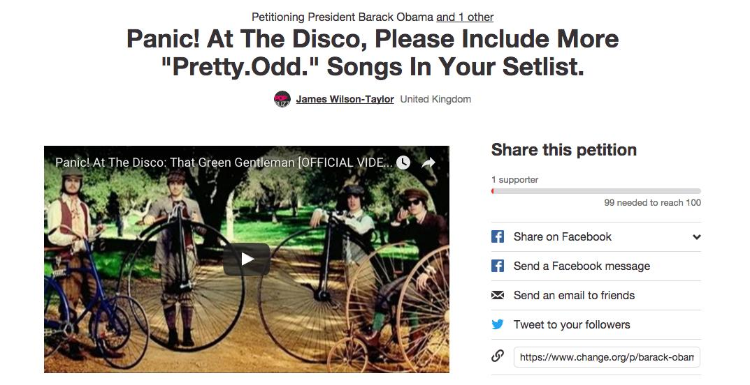 Panic At The Disco Petition