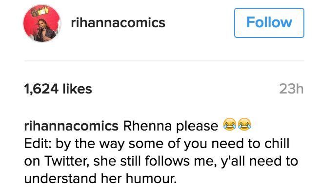 Rihanna comment instagram
