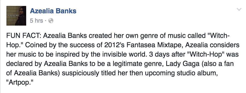 Azealia Banks Facebook Status