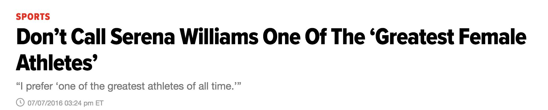 Serena Williams Greatest Athlete Headline