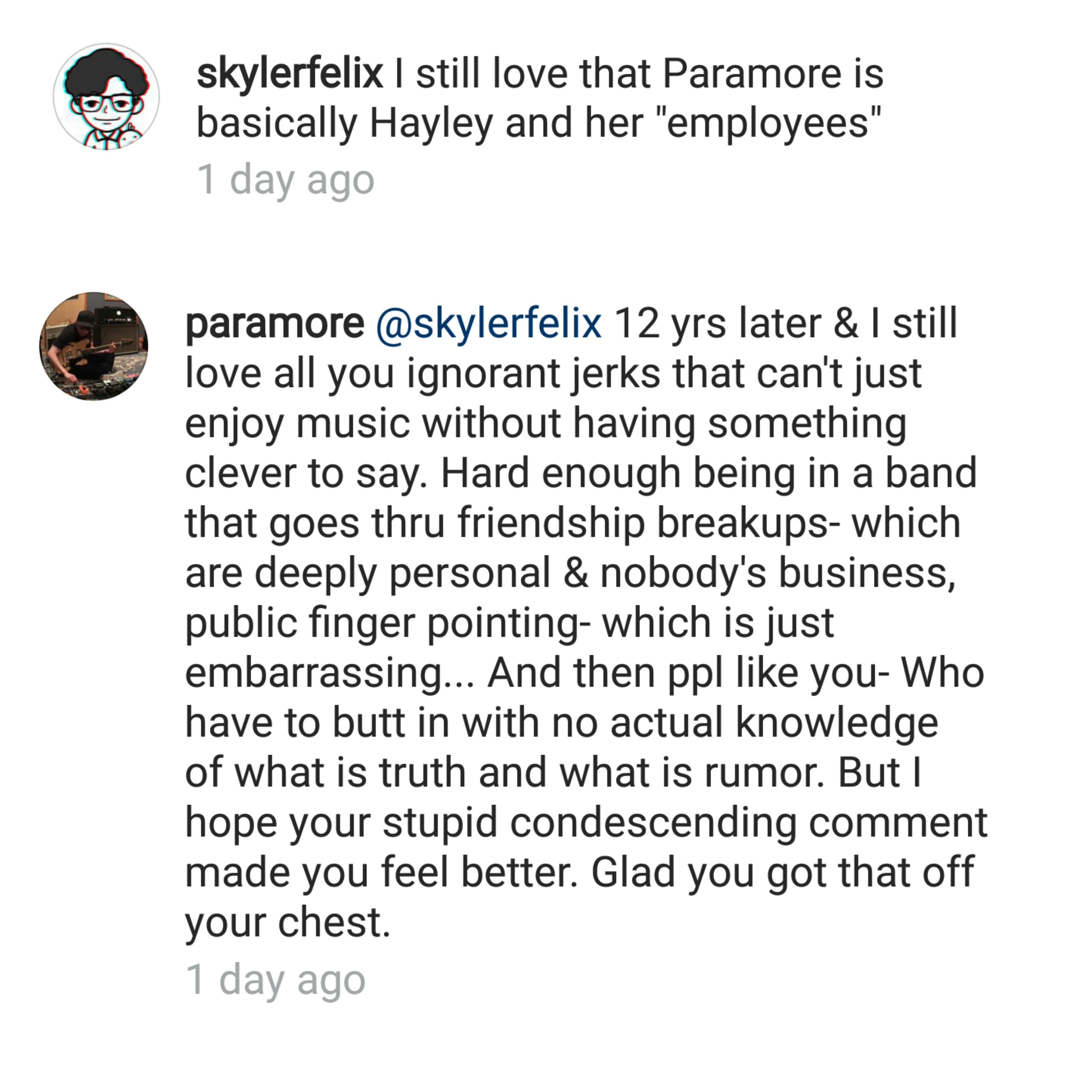 paramore instagram comment