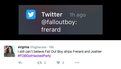 fall out boy twitter hack