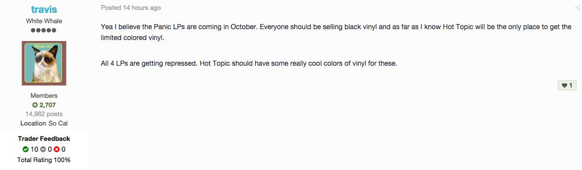 panic vinyl reissue message