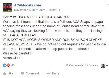 ACA Models Snapchat