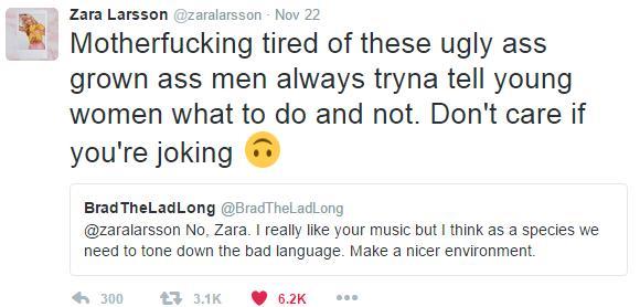 Zara Larsson tweet