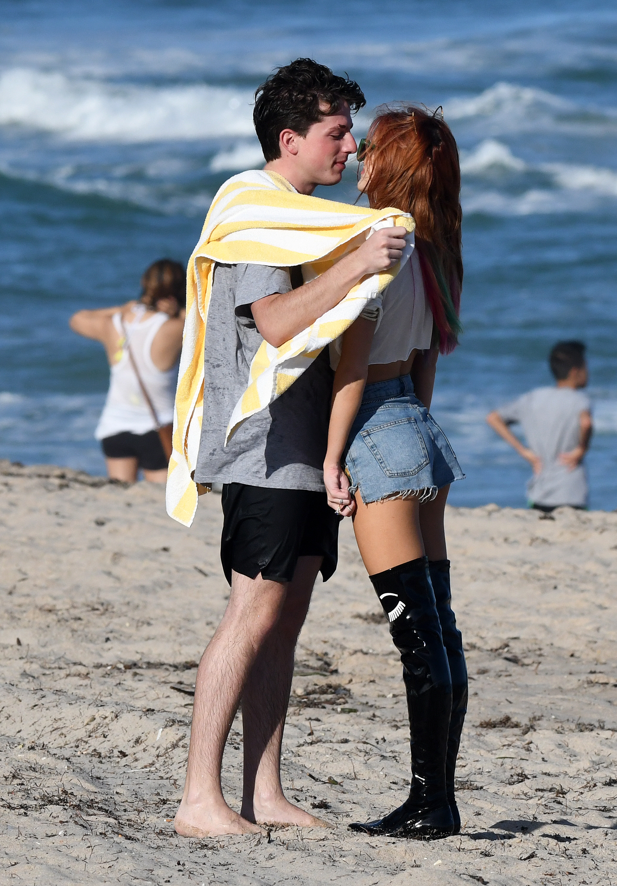 Bella Thorne and Charlie Puth on the beach