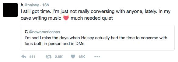 Halsey Song Writing Tweet