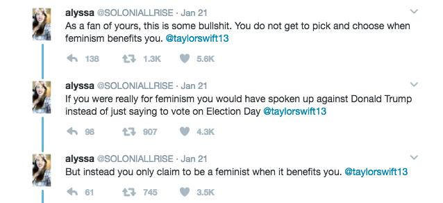 Taylor Swift Women's March Response