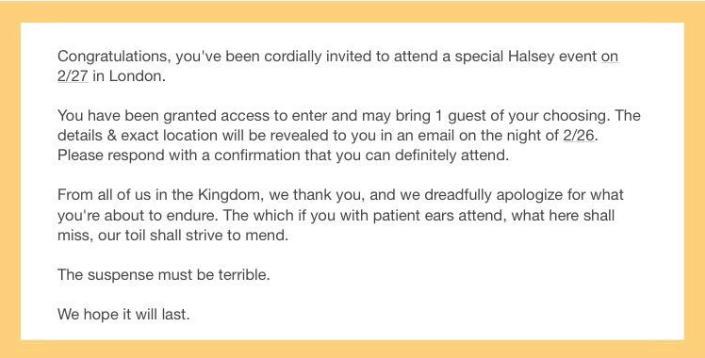 halsey invite
