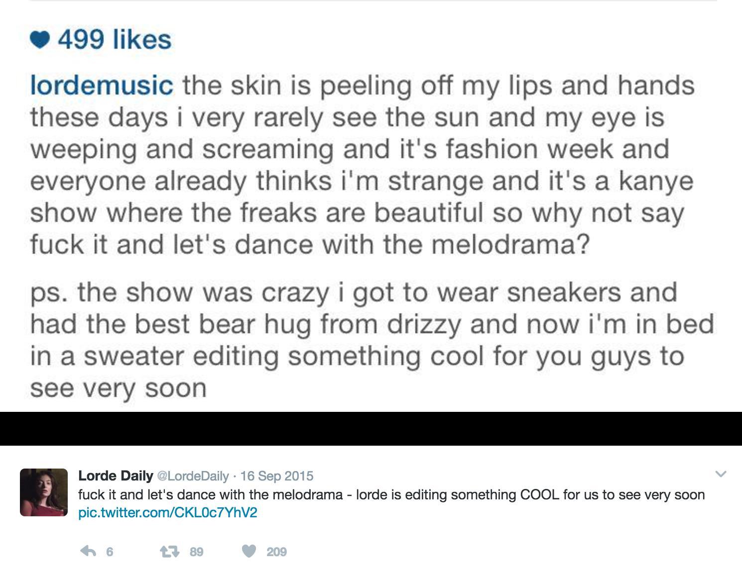 Lorde Tweet