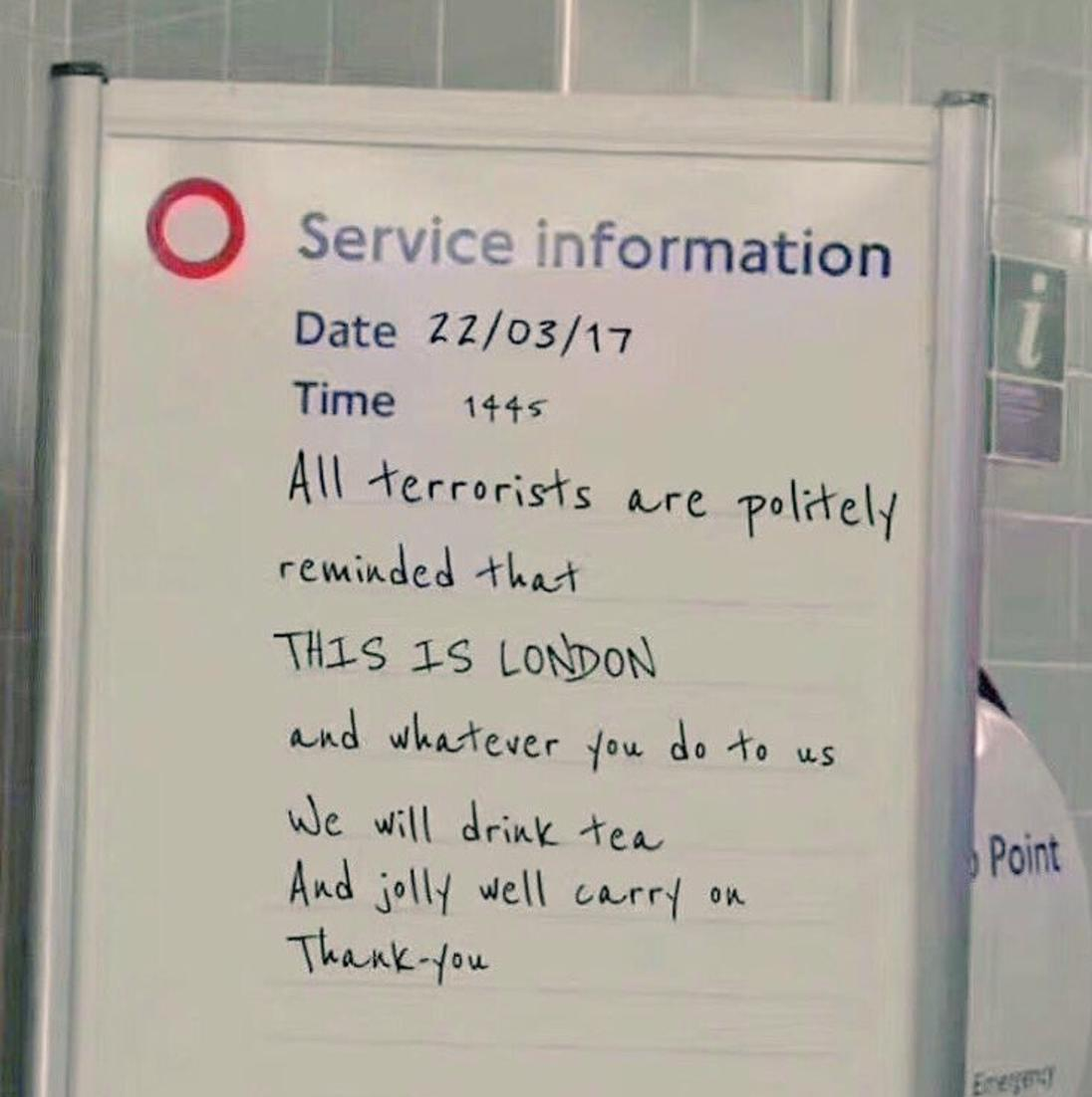 London attacks fake tube sign