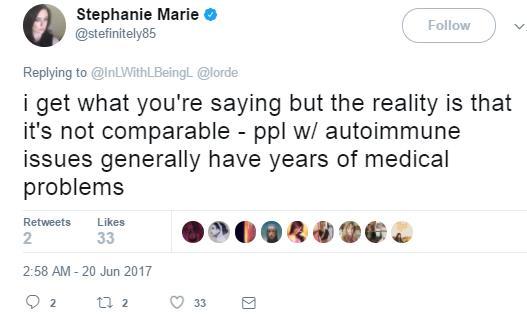 Lorde autoimmune tweet