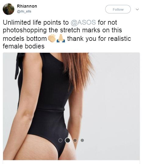 ASOS no photoshop tweet