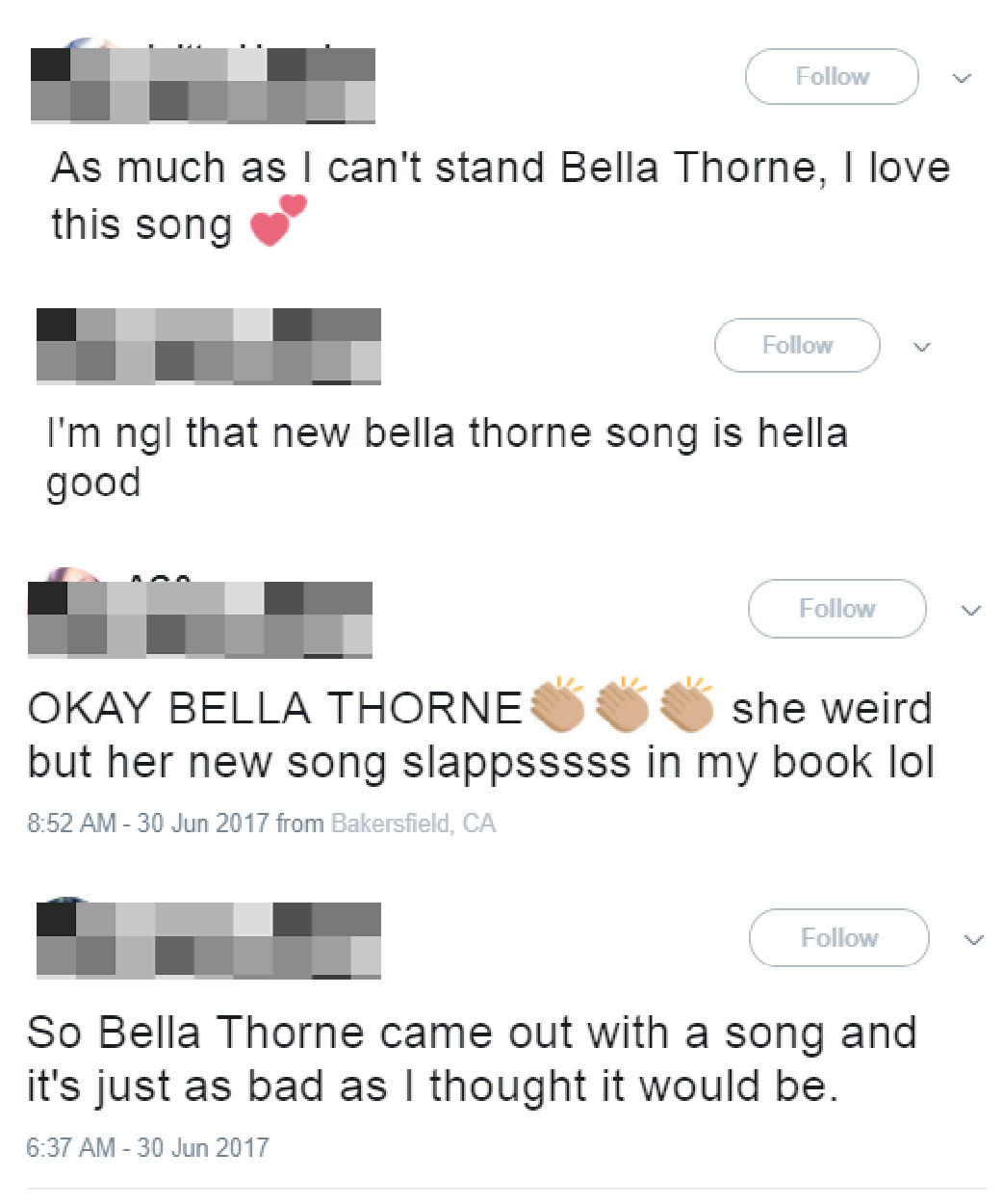Bella Thorne song reactions