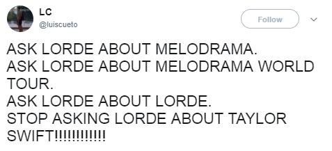 Lorde Melodrama topic tweet