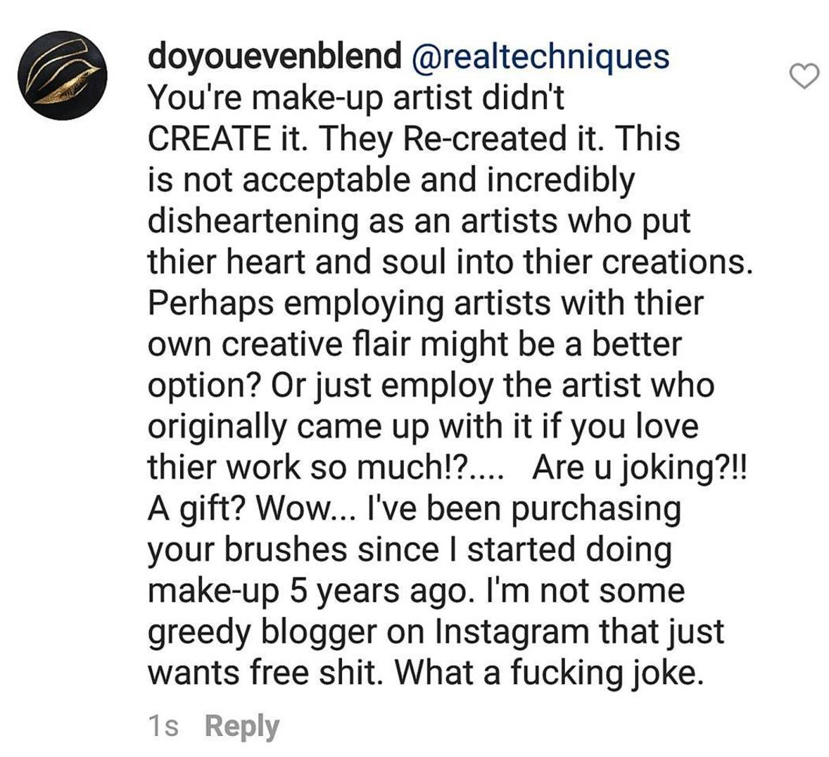 Real Techniques Make Up Artist Instagram Comment