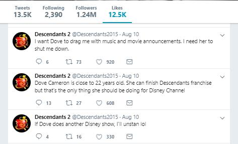 Dove Cameron twitter likes
