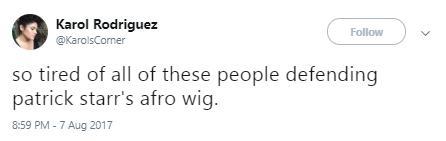 Patrick starrr wig reaction tweet