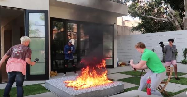 Jake paul lighting his mattress on fire.