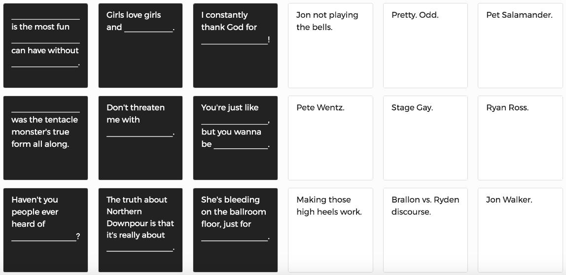 panic at the disco cards against humanity