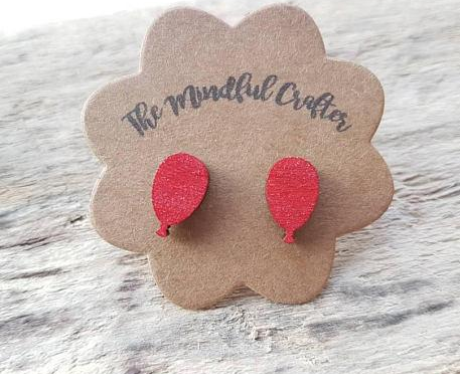 red balloon earrings