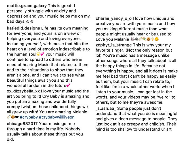 Melanie Martinez Instagram Comments