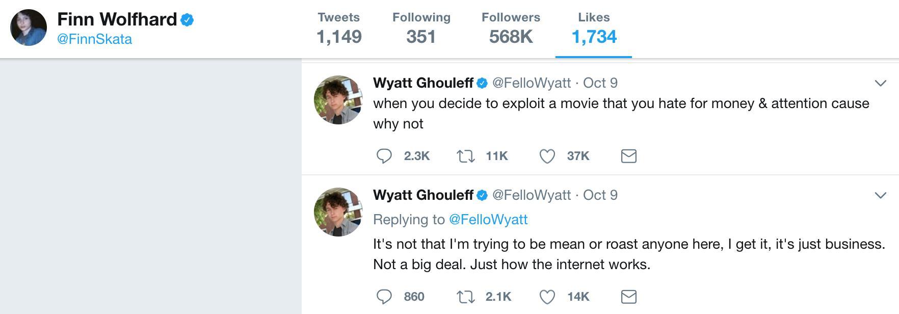 Finn Wolfhard Twitter Likes