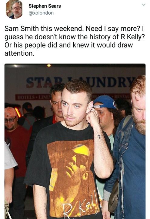 Sam Smith t shirt reaction