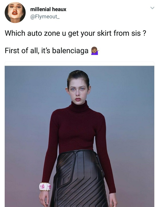 Balenciaga mat skirt reaction