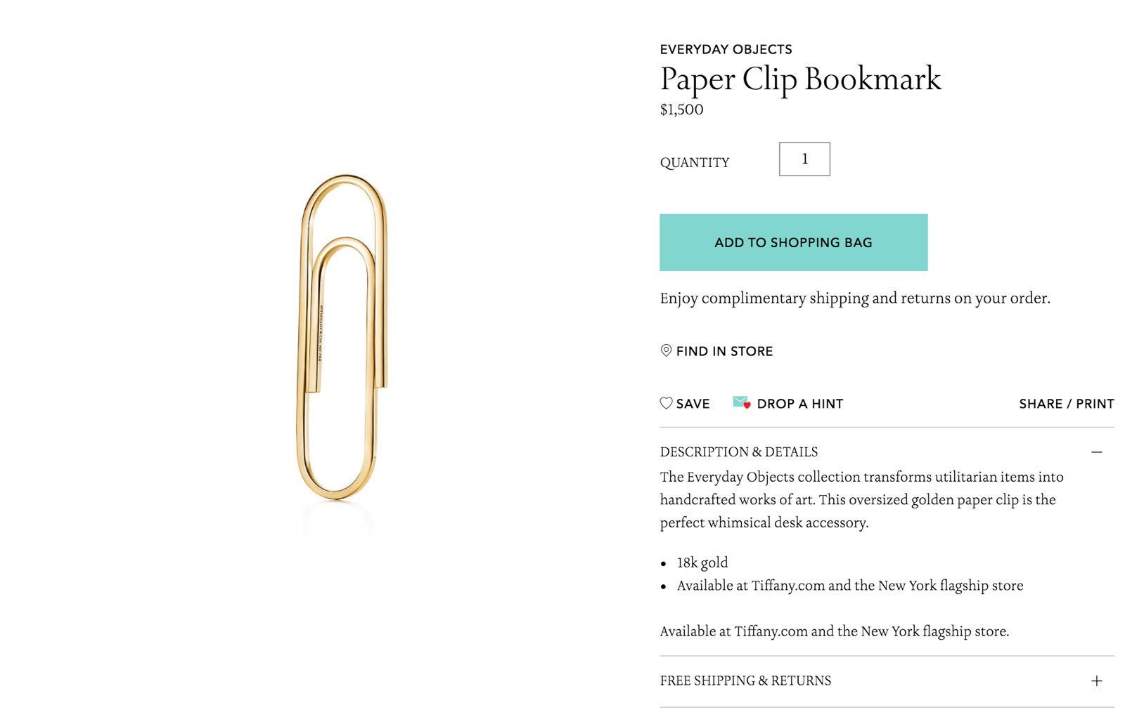 Paper clip bookmark Tiffany's
